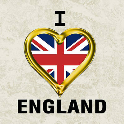 Parchment Background I Heart England Art Print by Elaine Plesser