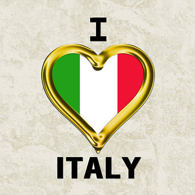 Italian Flag Painting - Parchment Background I Heart Italy by Elaine Plesser