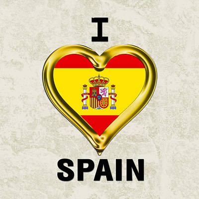 Parchment Background I Heart Spain Art Print by Elaine Plesser