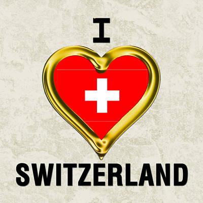 Switzerland Painting - Parchment Background I Heart Switzerland by Elaine Plesser