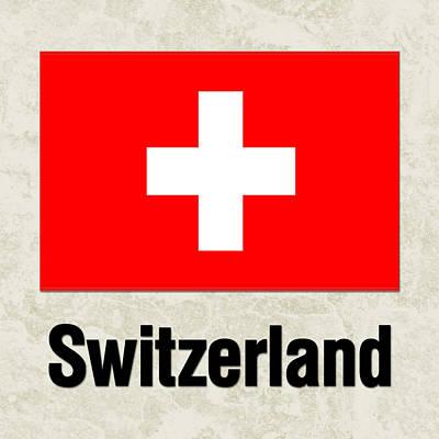 Switzerland Painting - Parchment Flag Switzerland by Elaine Plesser
