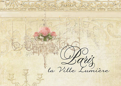 Antiques Mixed Media - Parchment Paris - City Of Light Rose Chandelier W Plaster Walls by Audrey Jeanne Roberts