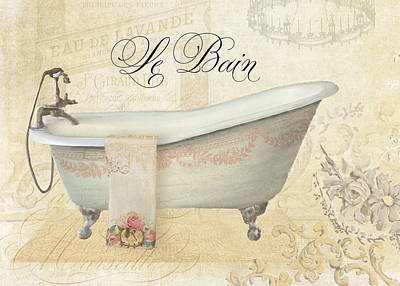 Bloom Art Mixed Media - Parchment Paris - Le Bain Vintage Bathroom by Audrey Jeanne Roberts