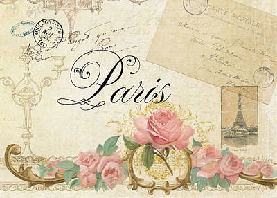 Paris Wall Art - Painting - Parchment Paris - Timeless Romance by Audrey Jeanne Roberts