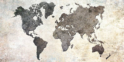 Gray Digital Art - Parchment World Map by Douglas Pittman