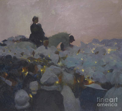 Crowd Painting - Pardon In Brittany by Gaston de La Touche
