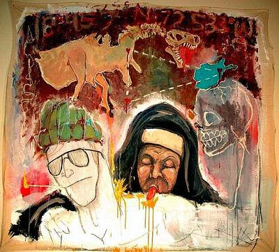Dinosaur Map Painting - Pardon The P'nun by Justin Wells