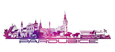 Pardubice Skyline City Purple Art Print by Justyna JBJart