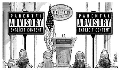 White House Drawing - Parental Advisory Explicit Content by Jason Chatfield