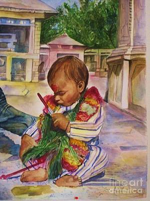 Nepali Painting - Parental Touch by Arjoon KC