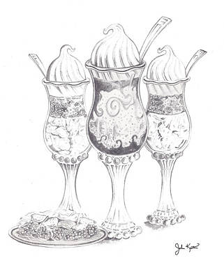 Drawing - Parfait Trio by John Keaton