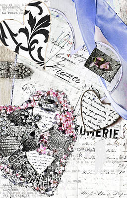 Anahi Decanio Licensing Art Mixed Media - Parfumerie - Paris Love Letters by WALL ART and HOME DECOR