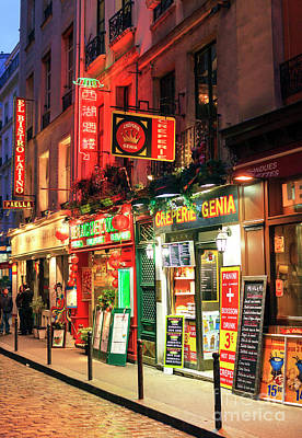 Photograph - Paris Latin Quarter Food Choices At Night by John Rizzuto