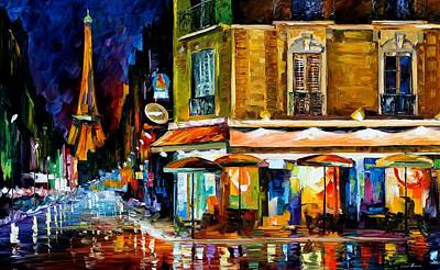 Paris - Recruitement Cafe Print by Leonid Afremov