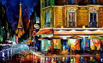 Paris - Recruitement Cafe Art Print by Leonid Afremov