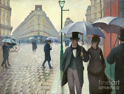 Paris Skyline Royalty-Free and Rights-Managed Images - Paris A Rainy Day - Gustave Caillebotte by Gustave Caillebotte