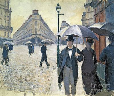 Golden Painting - Paris A Rainy Day by Gustave Caillebotte