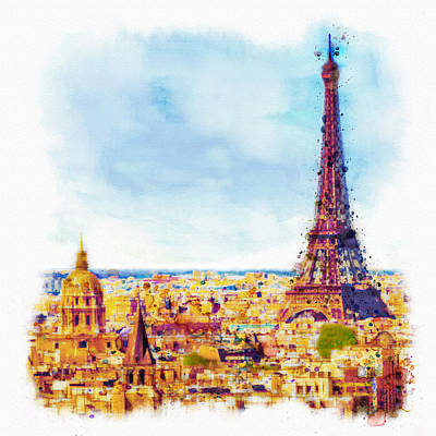 Eiffel Tower Mixed Media - Paris Aerial View by Marian Voicu