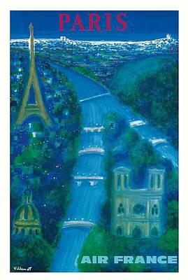 Notre Dame Digital Art - Paris Air France Vintage Travel Poster By Bernard Villemot by Retro Graphics
