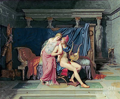 Harp Painting - Paris And Helen by Jacques Louis David