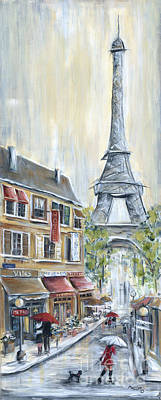 Red Wine Painting - Poodle In Paris by Marilyn Dunlap