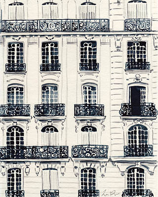 French Door Painting - Paris Apartments Haussman Architecture by Laura Row