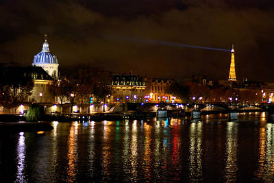 Print featuring the photograph Paris At Night by Steven Richman