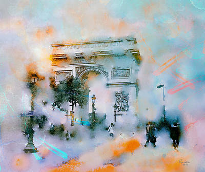 Painting - Paris At Sunset  by Rosalina Atanasova