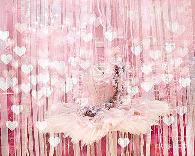 Couture Photograph - Paris Ballerina Tutu Dress Pink Hearts  - Paris Ballet Tutu Baby Girl Nursery Decor  by Kathy Fornal
