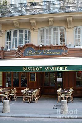 Photograph - Paris Bistrot Vivienne Galerie Vivienne - Parisian Cafes Bistros by Kathy Fornal