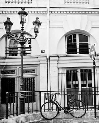 Paris Black And White Architecture Windows Street Lanterns Bicycle Print - Paris Street Lanterns Art Print by Kathy Fornal