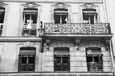 Photograph - Paris Black And White Balconies Window Buildings Architecture Wall Art by Kathy Fornal