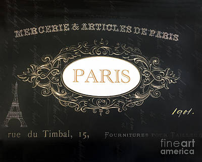 French Script Photograph - Paris Black And White Gold Typography - French Script Paris Decor by Kathy Fornal