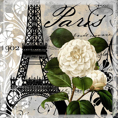 Eiffel Tower Painting - Paris Blanc I by Mindy Sommers