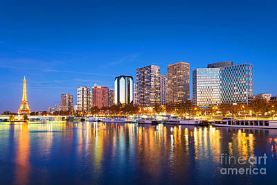 Paris Skyline Royalty-Free and Rights-Managed Images - Paris blue hour by Delphimages Photo Creations