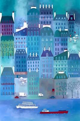 Paris Blues Print by Nic Squirrell