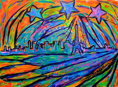 Paris Skyline Paintings - Paris Burst by Kendall Kessler
