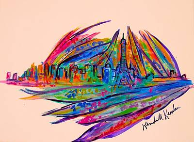 Paris Skyline Paintings - Paris Burst Stage One by Kendall Kessler
