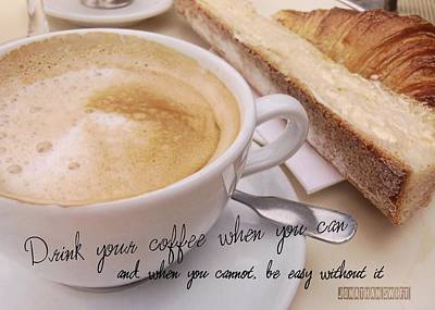 Photograph - Paris Cafe Quote by JAMART Photography