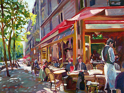 Bistro Painting - Paris Cafe Society by David Lloyd Glover