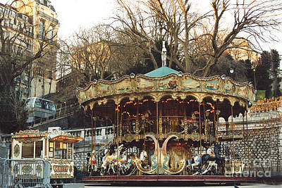 Paris Carousel At Montmartre - Sacre Coeur Cathedral Carousel Merry Go Round  Art Print by Kathy Fornal