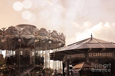 Photograph - Paris Carousel Merry-go-round Sepia - Carousel At Eiffel Tower Le Carrousel Morning Lights by Kathy Fornal