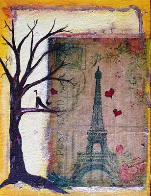 Cities Painting - Paris City Kitty by Roxy Rich