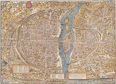 Painting - Paris City Map 1550 by Celestial Images