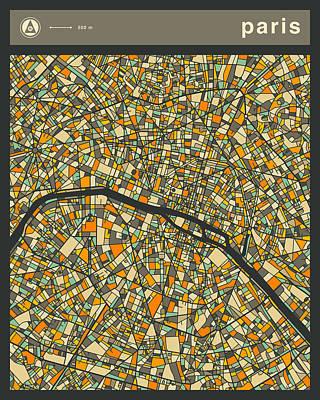 Paris Art Digital Art - Paris City Map by Jazzberry Blue