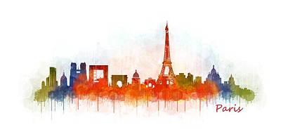 Paris Skyline Painting - Paris City Skyline Hq V3 by HQ Photo