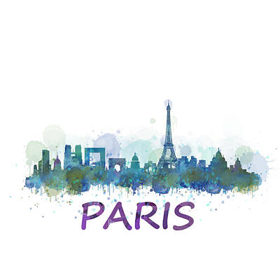 Paris Skyline Painting - Paris City Skyline Hq Watercolor V3 by HQ Photo