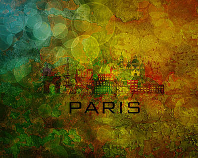 Paris Skyline Royalty-Free and Rights-Managed Images - Paris City Skyline on Grunge Background Illustration by Jit Lim