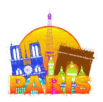 Paris Skyline Royalty-Free and Rights-Managed Images - Paris City Skyline Silhouette Circle Color Impressionist Illustr by Jit Lim