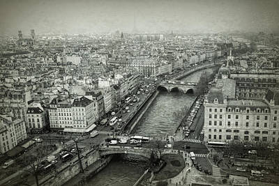 Paris Skyline Photograph - Paris Cityscape Bw by Joan Carroll